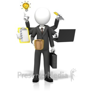 ID# 17779 - Businessman Multi Tasking - Presentation Clipart