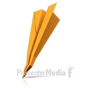 ID# 17809 - Crashed Paper Airplane - Presentation Clipart