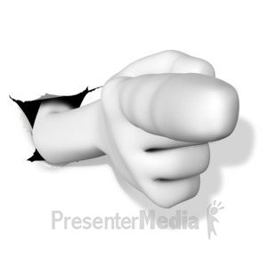 ID# 17860 - Finger Point Out Punch Hole - Presentation Clipart