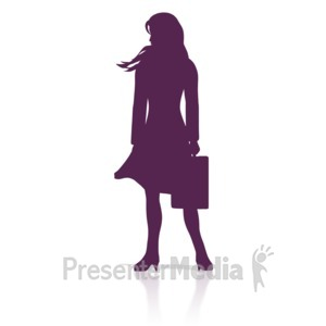 ID# 17903 - Business Woman Stand Silhouette - Presentation Clipart