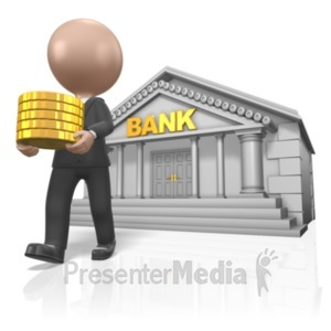 ID# 17904 - Figure Carry Gold From Bank - Presentation Clipart