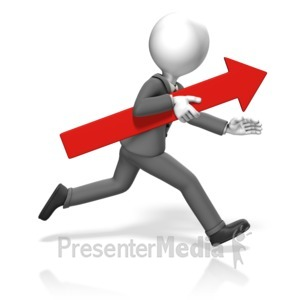 ID# 17909 - Business Man Run Arrow - Presentation Clipart