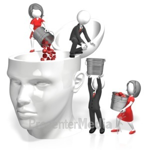 ID# 17983 - Pouring Into Head - Presentation Clipart