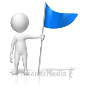 ID# 18004 - Figure Holding Flag Marker - Presentation Clipart