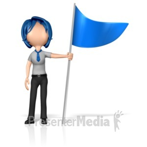 ID# 18006 - Business Woman Figure Holding Flag - Presentation Clipart
