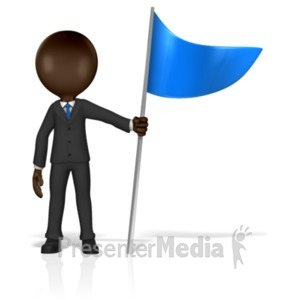 ID# 18007 - Business Figure Holding Flag - Presentation Clipart