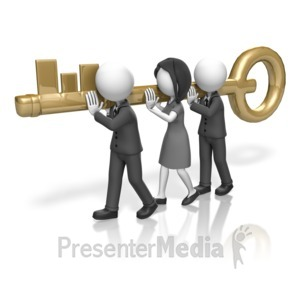 ID# 18011 - Business People Carry Key - Presentation Clipart