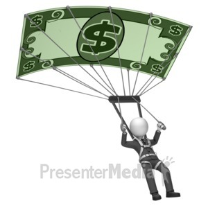 ID# 18015 - Businessman Money Parachute - Presentation Clipart