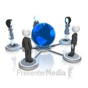 ID# 18018 - Business People Global Nodes - Presentation Clipart