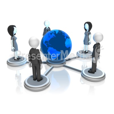 Business People Global Nodes PowerPoint Clip Art
