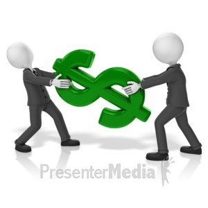 ID# 18047 - Businessmen Pull Dollar - Presentation Clipart