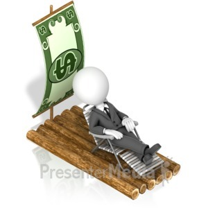 ID# 18083 - Businessman Money Raft - Presentation Clipart