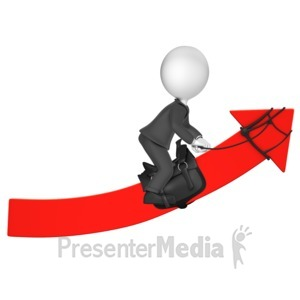 ID# 18095 - Businessman Figure Riding An Upward Arro - Presentation Clipart