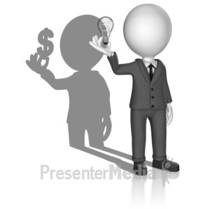 ID# 18102 - Shadow Man Idea Money - Presentation Clipart