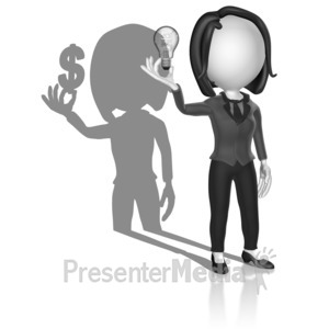 ID# 18103 - Shadow Woman Idea Money - Presentation Clipart