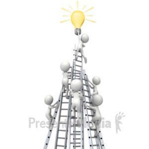 ID# 18125 - Figures Race Ladders To Idea Light Bulb - Presentation Clipart