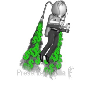 ID# 18173 - Businesswoman Custom Jetpack Exhaust - Presentation Clipart