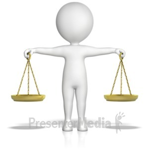 ID# 18193 - Figure Holding Justice Scales - Presentation Clipart