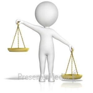 ID# 18197 - Figure Holding Justice Scales Uneven Rt  - Presentation Clipart