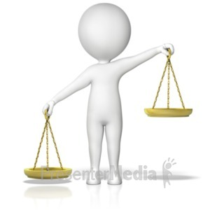 ID# 18199 - Figure Holding Justice Scales Uneven Lt  - Presentation Clipart