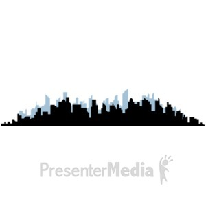 ID# 18238 - Cityscape Silhouette and Backdrop - Presentation Clipart