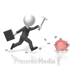 ID# 18289 - Businessman Chase Piggy Bank - Presentation Clipart