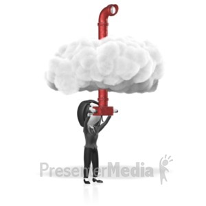 ID# 18333 - Business Woman Cloud Periscope - Presentation Clipart