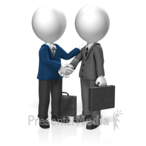 ID# 18355 - Businessmen Greet - Presentation Clipart