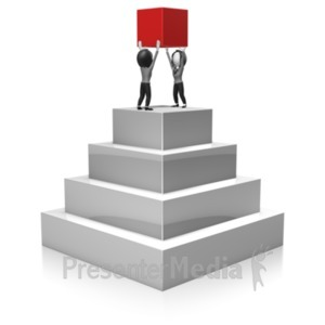 ID# 18379 - Business Women Build Pyramid - Presentation Clipart