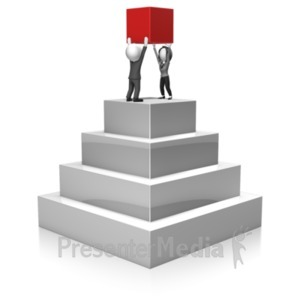 ID# 18380 - Business People Build Pyramid - Presentation Clipart