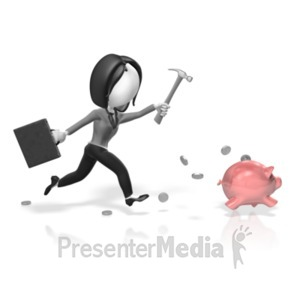 ID# 18386 - Business Woman Chase Piggy Bank - Presentation Clipart