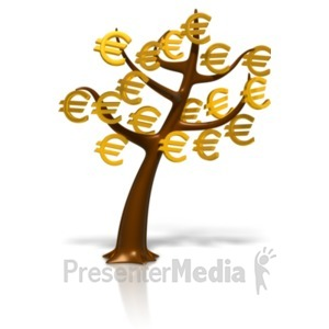 ID# 18390 - Euro Symbol Money Tree - Presentation Clipart