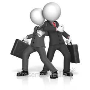 ID# 18495 - Dominance Businessmen Stance - Presentation Clipart