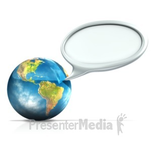 ID# 18579 - Earth With Conversation Bubble - Presentation Clipart