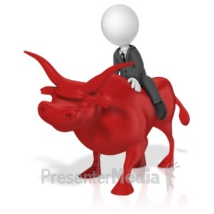 ID# 18585 - Businessman Ride Bull - Presentation Clipart