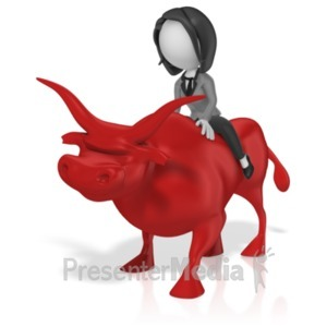 ID# 18586 - Business Woman Ride Bull - Presentation Clipart