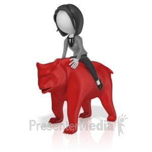 ID# 18588 - Business Woman Ride Bear - Presentation Clipart