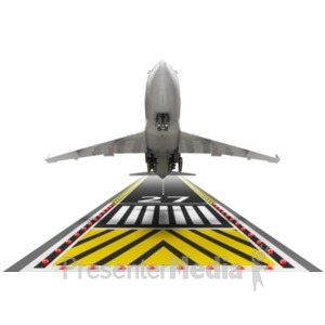 ID# 18591 - Airplane Taking Off - Presentation Clipart