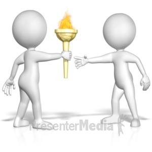 ID# 18661 - Figure Passing The Torch - Presentation Clipart