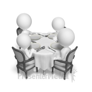 ID# 18691 - Dinner Table Family - Presentation Clipart