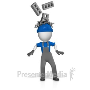 ID# 18723 - Worker With Bricks Breaking Over Helmet - Presentation Clipart