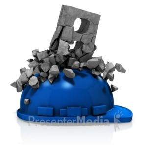 ID# 18727 - Brick Breaking Over Helmet - Presentation Clipart