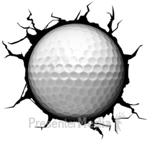ID# 18767 - Crack Wall Golfball - Presentation Clipart