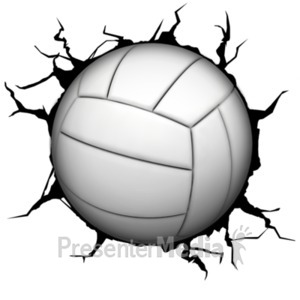 ID# 18770 - Crack Wall Volleyball - Presentation Clipart