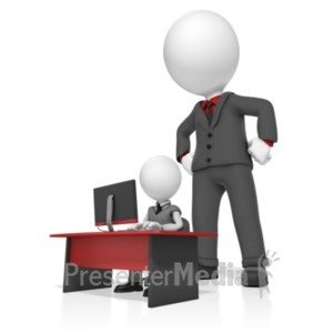 ID# 18803 - Giant Businessman Watch Man - Presentation Clipart