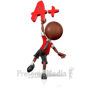 ID# 18958 - School Boy Holding an A+ - Presentation Clipart