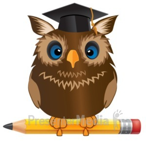ID# 19025 - Owl Standing On Pencil - Presentation Clipart
