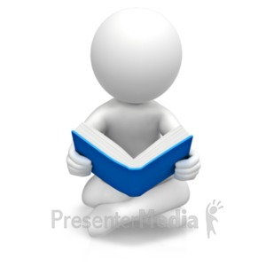 ID# 19062 - Figure Sitting Reading Book - Presentation Clipart
