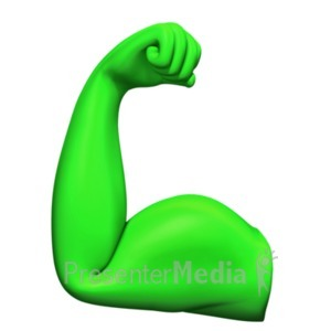 ID# 19078 - Flexing Bicep Muscle - Presentation Clipart