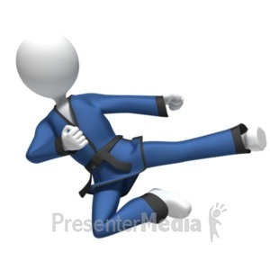 ID# 19087 - Flying Karate Kick - Presentation Clipart